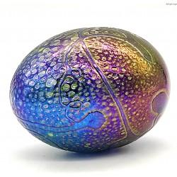 Iryzowane szklane jajo przycisk sygnowany