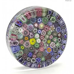 Millefiori szklany przycisk w kształcie walca sygnowany