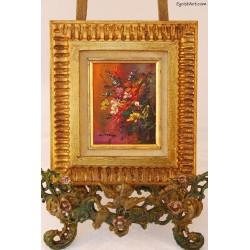 Fantazja kwiatowa w złotej ramie