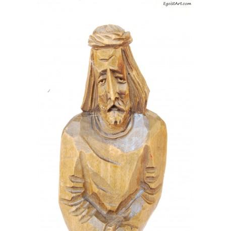 Jezus Frasobliwy z drewna