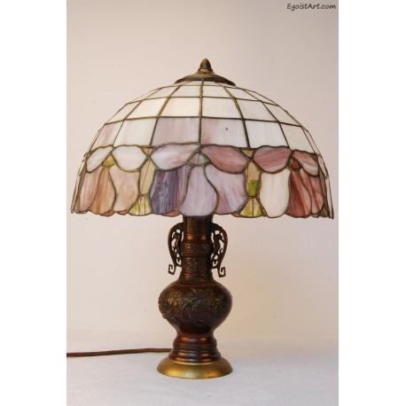 Lampa z brązu witrażowa