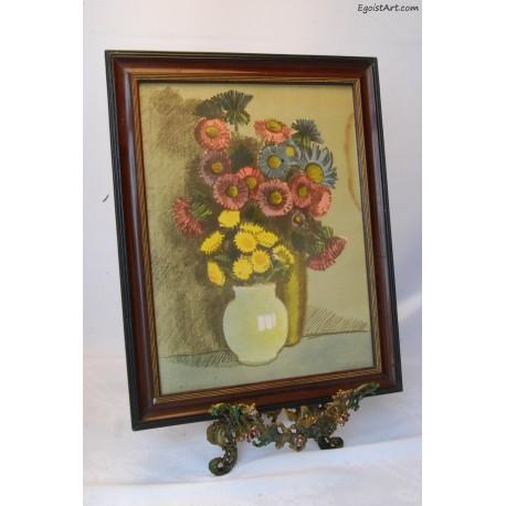 Litografia kwiaty w wazonach