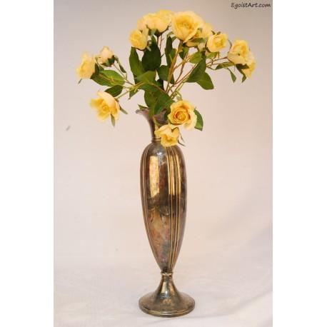 Metalowy srebrzony wazon