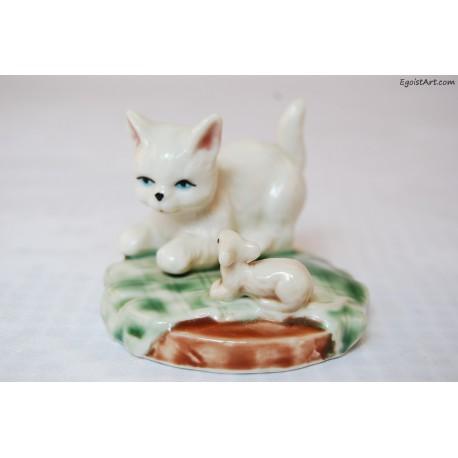 Figurka kotek z myszką