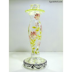 Szklany świecznik recznie malowany