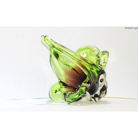 Kryształowy, zielony koszyk - patera