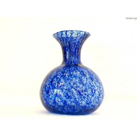 Wazon szklany duży pękaty niebieski - Czechy