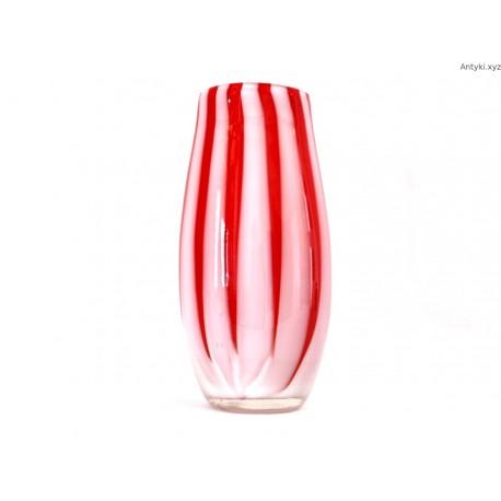 Wazon szklany biało - czerwonym - ręcznie formowany