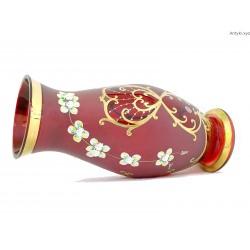 Wazon czerwony duży ręcznie malowany Czechy