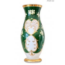 Wazon duży zielono-biały ręcznie malowany złocenia Czechy