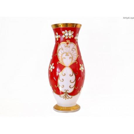Wazon duży czerwono - biały złocenia ręcznie malowany Czechy