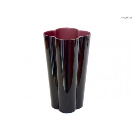Wazon szkło dwuwarstwowe w kolorze ciemnego bakłażanu duży