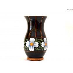 Wazon czarny szkło hialitowe ręcznie malowany