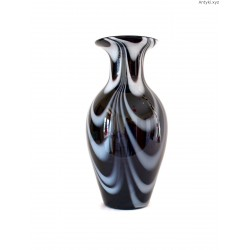 Joska wazon szklany czarno - biały duży