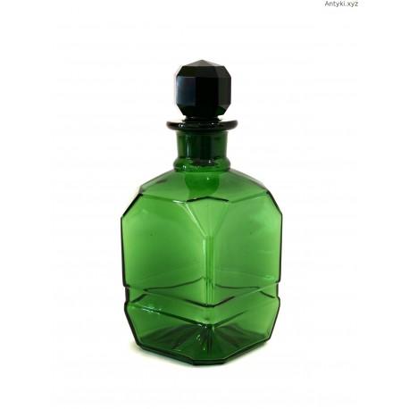 Flakon butelka na wodę toaletową zielone grube szkło