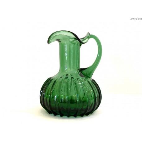Dzbanek wazon zielony grube szkło