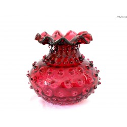 Wazon żurawinowy Fenton Art Glass - Empoli Verde - Ruby glass