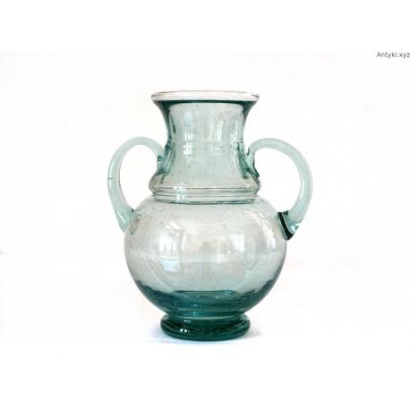 Duży stary wazon dzban szkło leśne pęcherze powietrza