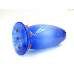 Wazon błękitny grube szkło pomarańczowe szklane guziki