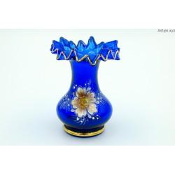 Wazonik szklany kobaltowy mały złocenia ręcznie malowany