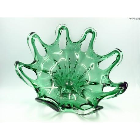 Patera kryształowa Egermann zielono - biała