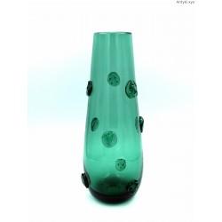 Wazon stary duży zielony maliny szkło artystyczne