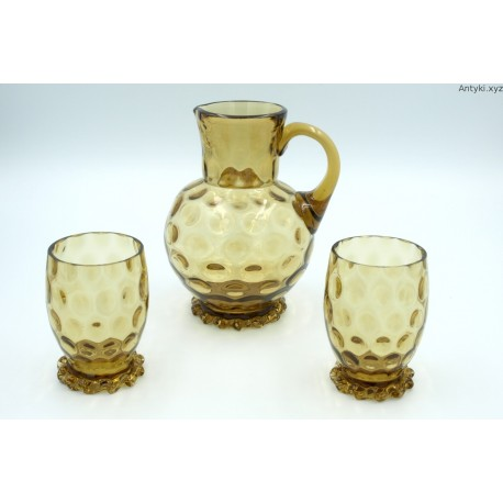 Dzbanek + 2 szklanice zielono bursztynowy artystyczne szkło