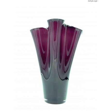 Duży wazon w kolorze oberżyny szkło dwuwarstwowe