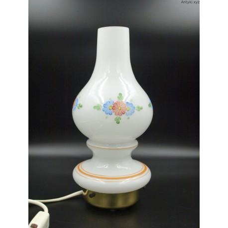 Lampka nocna szklana biała z malowanym motywem kwiatowym