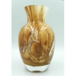 Duży ciężki wazon w odcieniach brązu szkło warstwowe grube dno