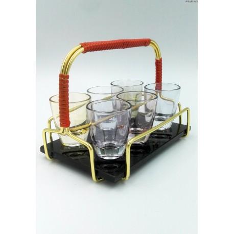 Komplet kieliszki stojak szklana podstawa lata 60-te