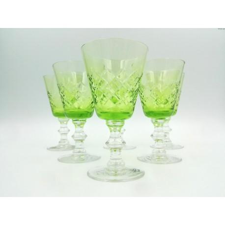Stare zielone kryształowe kieliszki komplet Czechosłowacja