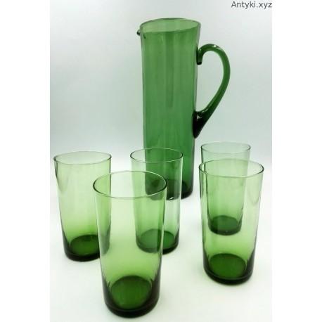 Dzbanek szklanice komplet stary zielony