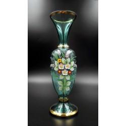 Szmaragdowy stary wazon ręcznie malowany złocenia