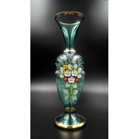 Szmaragdowy wazon ręcznie malowany złocenia