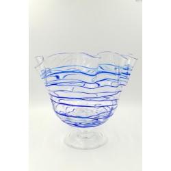 Duża szklana patera szkło artystyczne kobaltowa nitka