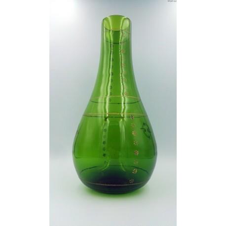 Wielki stary zielony wazon ręcznie malowany 40 zm.