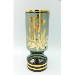 Wazon duży zielono - złoty Czechosłowacja Borskie szkło