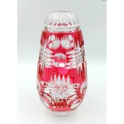 Duży ciężki kryształowy wazon czerwień malinowa szlifowany