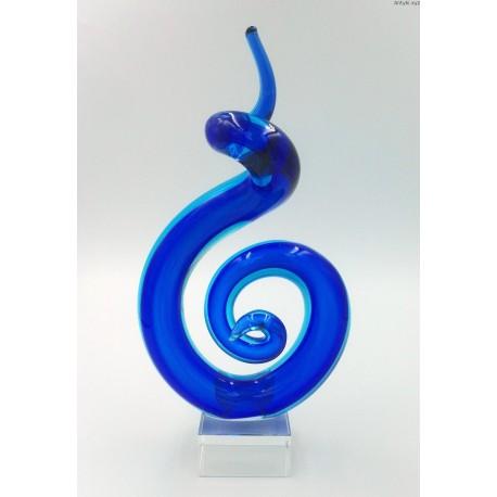 Kobaltowa szklana rzeżba figura Murano