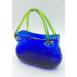 Szklana torebka wazon kobaltowa duża