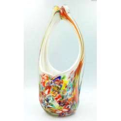 Millefiori Murano duży szklany koszyk patera