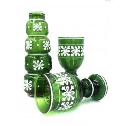 Zielony stary komplet wazon kielichy ręcznie malowany Czechy