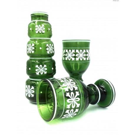 Zielony stary komplet wazon kielichy ręcznie malowany