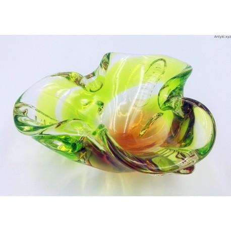 Mała patera szklana zielono limonkowa