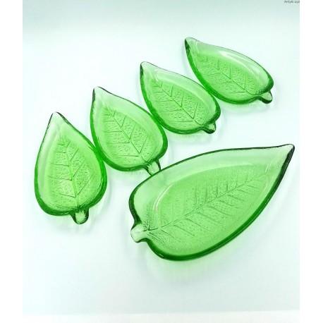 Zielony szklany komplet liście