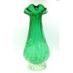 Duży ciężki zielony wazon ręcznie formowany