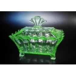 Pudełko ozdobne Glasfabrik AG in Brockwitz, szkło uranowe
