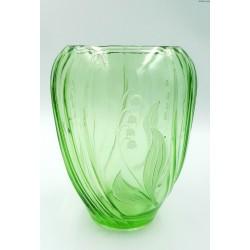 Lausitzer Glas 1969 zielony stary wazon konwalie