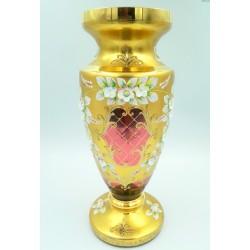 Bohemia duży rubinowy wazon zlocony